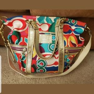 RARE! COACH POPPY Spotlight Bright Graffiti Tote